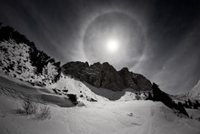 Full Moon With Halo In Small A...