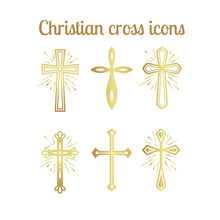 Golden Christian Cross Icons I...