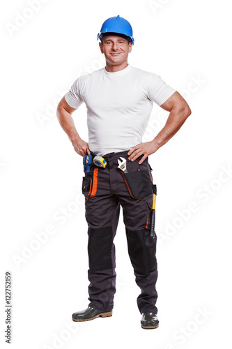 smiling handyman on white background fine portrait