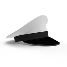 Royal Naval Officers Cap On White. 3D Illustration
