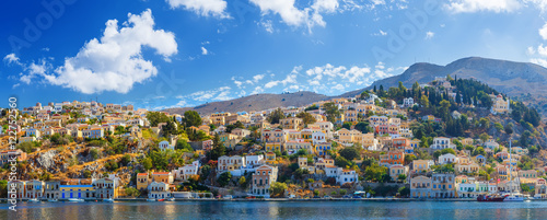 Staande foto Kust Panoramic view of the coast the island Symi, Greece
