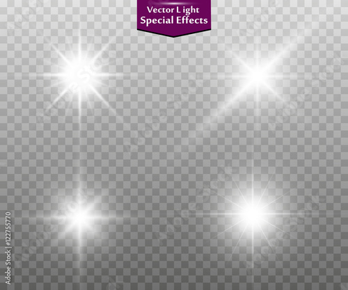 Foto  Set of golden glowing lights effects isolated on transparent background