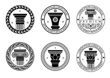 Set Round Logos Or Patterns Of Seals, Logos With Capitals For Architectural Or Construction Companies. Vector Graphics