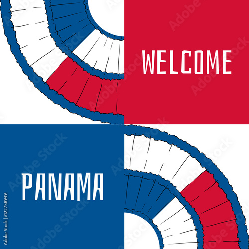Welcome To Panama Vector Illustration Travel Design With Pollera