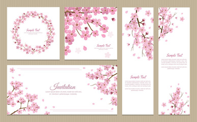 Set of greeting cards, banners and invitation card with blossom sakura flowers.
