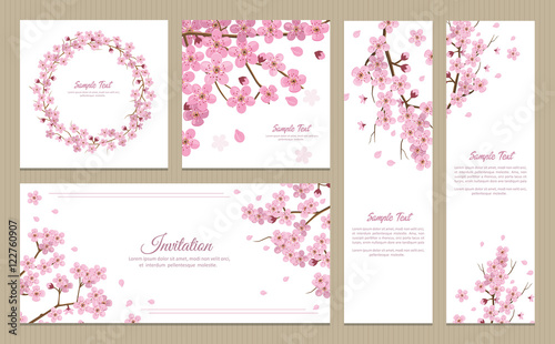 Set of greeting cards, banners and invitation card with blossom sakura flowers Wallpaper Mural