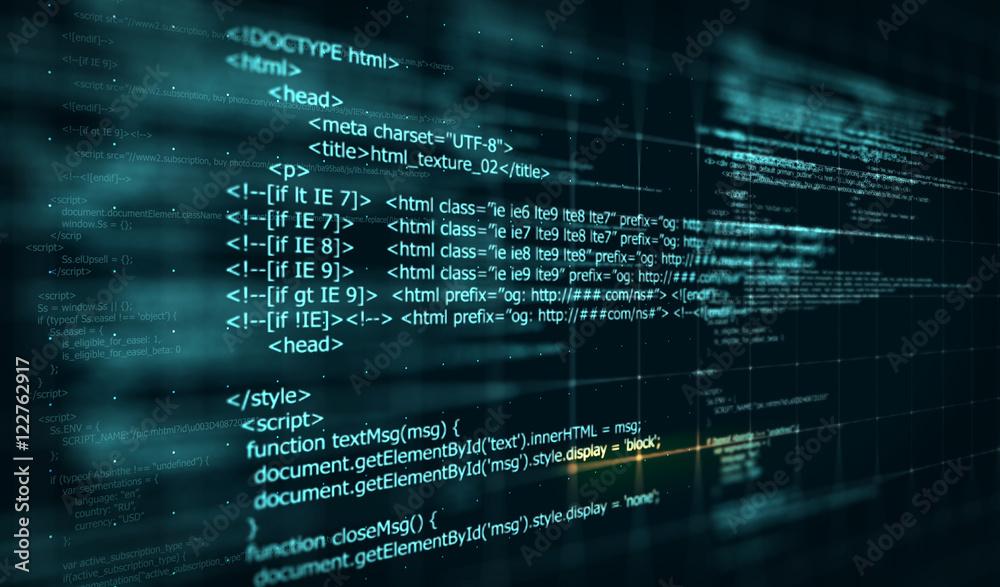 Fototapety, obrazy: Code, HTML web programming  background