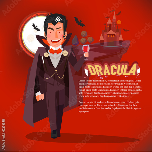 Fotografie, Obraz  dracula character with glass blood. brush cocktail - vector