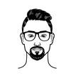 Vector portrait Hipster Image of bearded man for barbershop