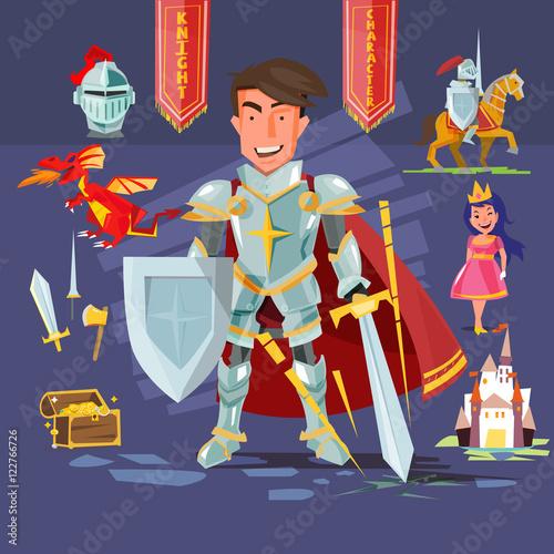 Plakat postać rycerza Samarta z zestawem ikon. projekt postaci - wektor