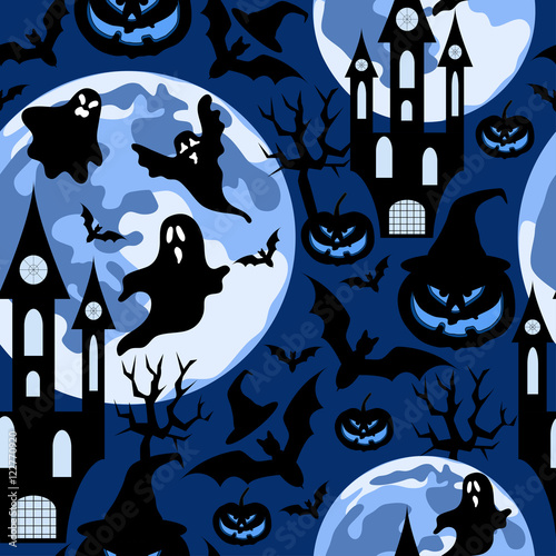 Cotton fabric Halloween background with ghost,dark castle and moon.Seamless vector pattern.Halloween holiday