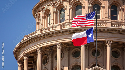 Poster Texas American and Texas state flags flying on the dome of the Texas State Capitol building in Austin