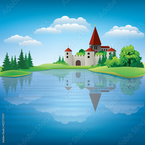 Staande foto Kasteel Cartoon hand drawing color castle Illustration