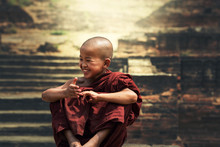 Smiling Young Buddhist Monk