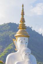 White Buddha At Wat Pra That Pha Son Keaw Temple Of Khao Kor, Petchaboon, Thailand.