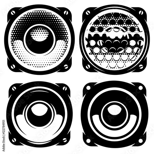 Fotografía  set of templates for posters or badges with monochrome acoustic speakers