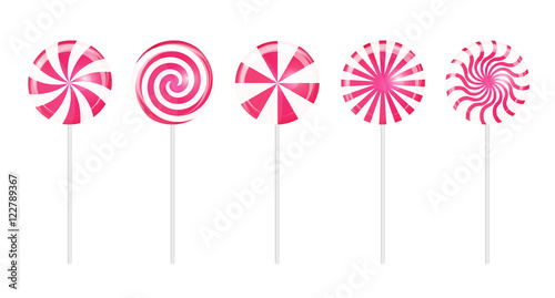 Photographie  Realistic Sweet Lollipop Candy Set on White Background. Vector I