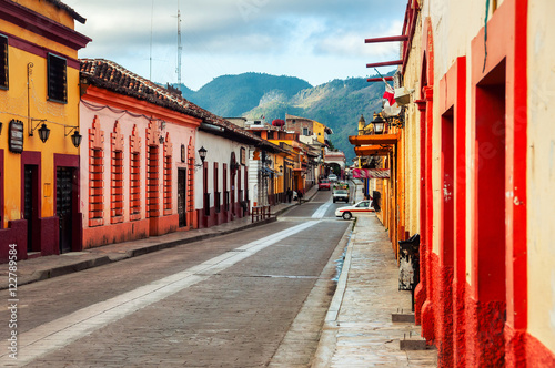 Streets of colonial San Cristobal de las Casas, Mexico