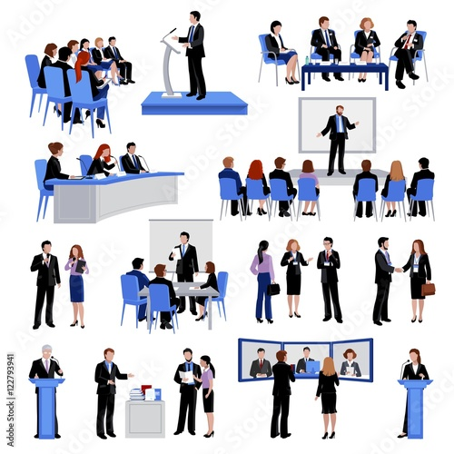 Fotografía  Public Speaking People Flat Icons Collection