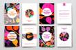 Set of brochure, poster design templates in DNA molecule style