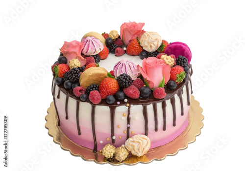 Delicious Cake Made From Fruits And Chocolate