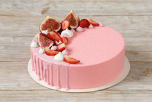 Pink Mousse Cake With Mirror Glaze And Merinques