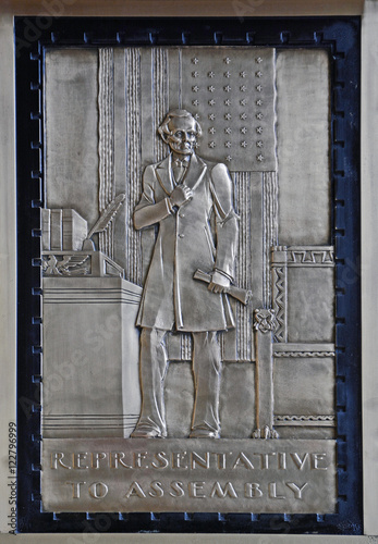 Abraham Lincoln representative to assembly , Bronze Relief Poster
