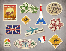 Vector Retro Travel Luggage Stickers Set On Grunge Background