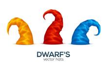Colorful Dwarf Caps Vector Set