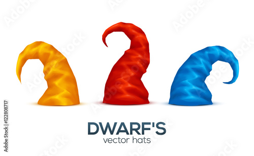 Photo Colorful dwarf caps vector set