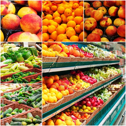 Different grocery shelves full of fruit and vegetables, collage of colorized photo © mettus