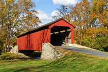 Covered Bridge In Autumn