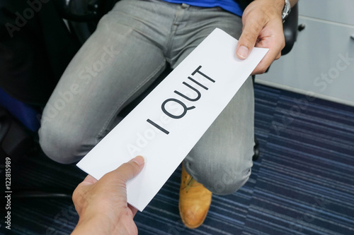 businessman submit a resignation letter to boss buy this stock