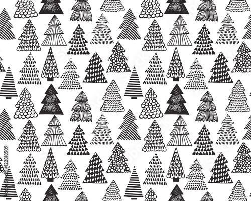 Stoffe zum Nähen Nahtlose Muster mit reich verzierten Weihnachtsbäume.