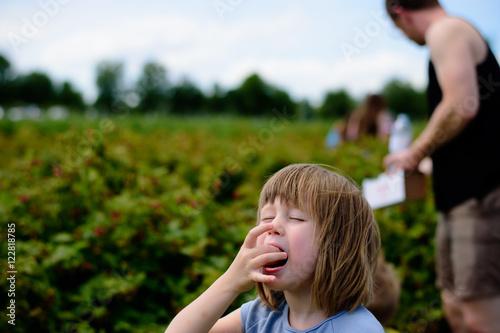 Photo  girl eats berries