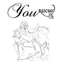 Jesus Rescued Me Text With Line Art Drawing Of Jesus Reaching Peter As Christianity Story Art.