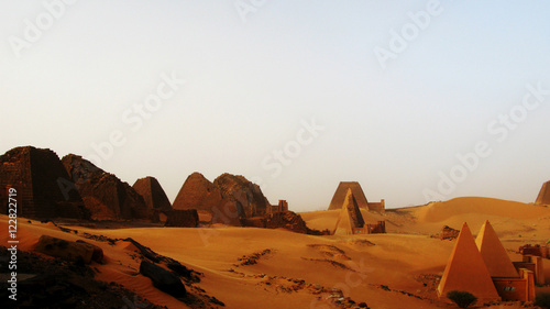 Fototapeta Landscape of Meroe pyramids in the desert, Sudan,