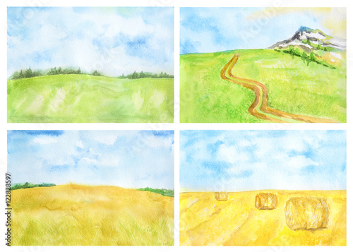 Poster Jaune Watercolor rural landscape. Beautiful green field and blue sky. Summer village or farm. Blue sky with yellow fields and haystacks.