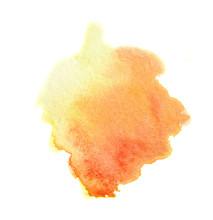 Watercolor Orange Paint. Colorful Paint Illustration For Decoration.