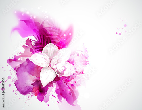Fototapeta light blooming orchid and palm leaves on the pink abstract background