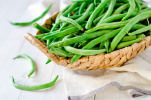Green Beans In A Wicker Basket