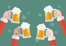 Santa Clinking Beer Glasses