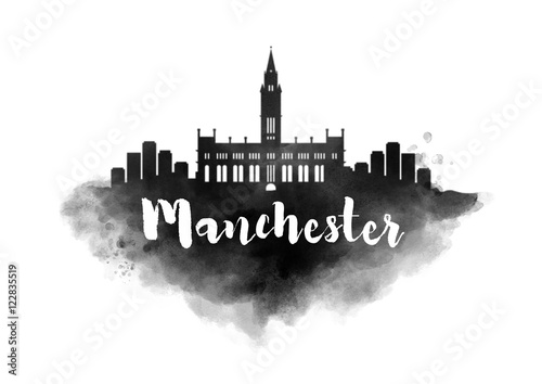 Watercolor Manchester City Skyline