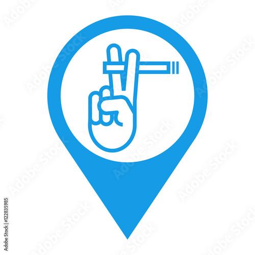 Fotografía  Icono plano localizacion zona fumadores azul