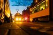 Berlin Strasse Abend Nacht Verkehr Lichter - Rush Hour, Berliner Tram, Haltestelle, Feierabend, Nahverkehr, Straßenverkehr, ÖPNV, Fahrplan, Endhaltestelle, Berufsverkehr, Pendler, Innenstadt, City