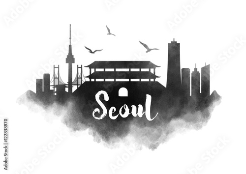 Photo  Watercolor Seoul City Skyline