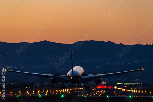 Tuinposter Airplane landing at dusk (夕焼けの航空機着陸シーン)