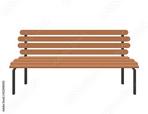 Cuadros en Lienzo Wooden bench isolated on white background