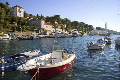 Tela Summer afternoon in settlement Maslinica on Solta island in Croatia
