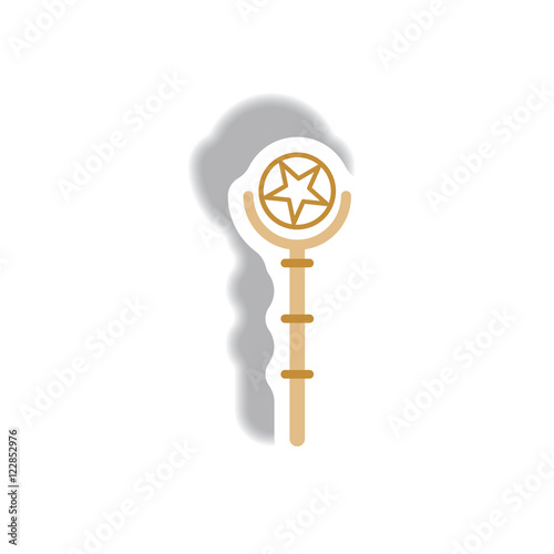 Vector illustration paper sticker Halloween icon Magic wand Poster